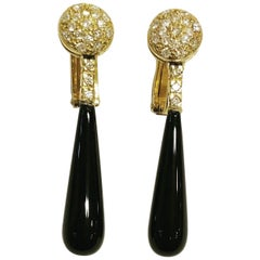 1960s Diamonds Onyx 18k Yellow Gold Omega Clipon Tear Drop Long Earrings