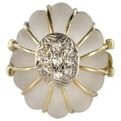 1960s Diamonds Rock Crystal Yellow Gold Ring