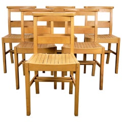 1960s Dining Church/Chapel Chairs in Beechwood, Set of Six