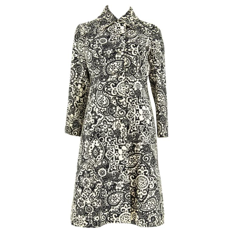 1960s Diorling by Christian Dior Paisley Print Coat