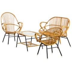 1960s Dirk Van Sliedregt Sofa Fauteuil, Table, Chair Set/4