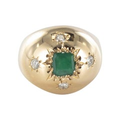 1960s Domed Emerald Diamond Gold Ring