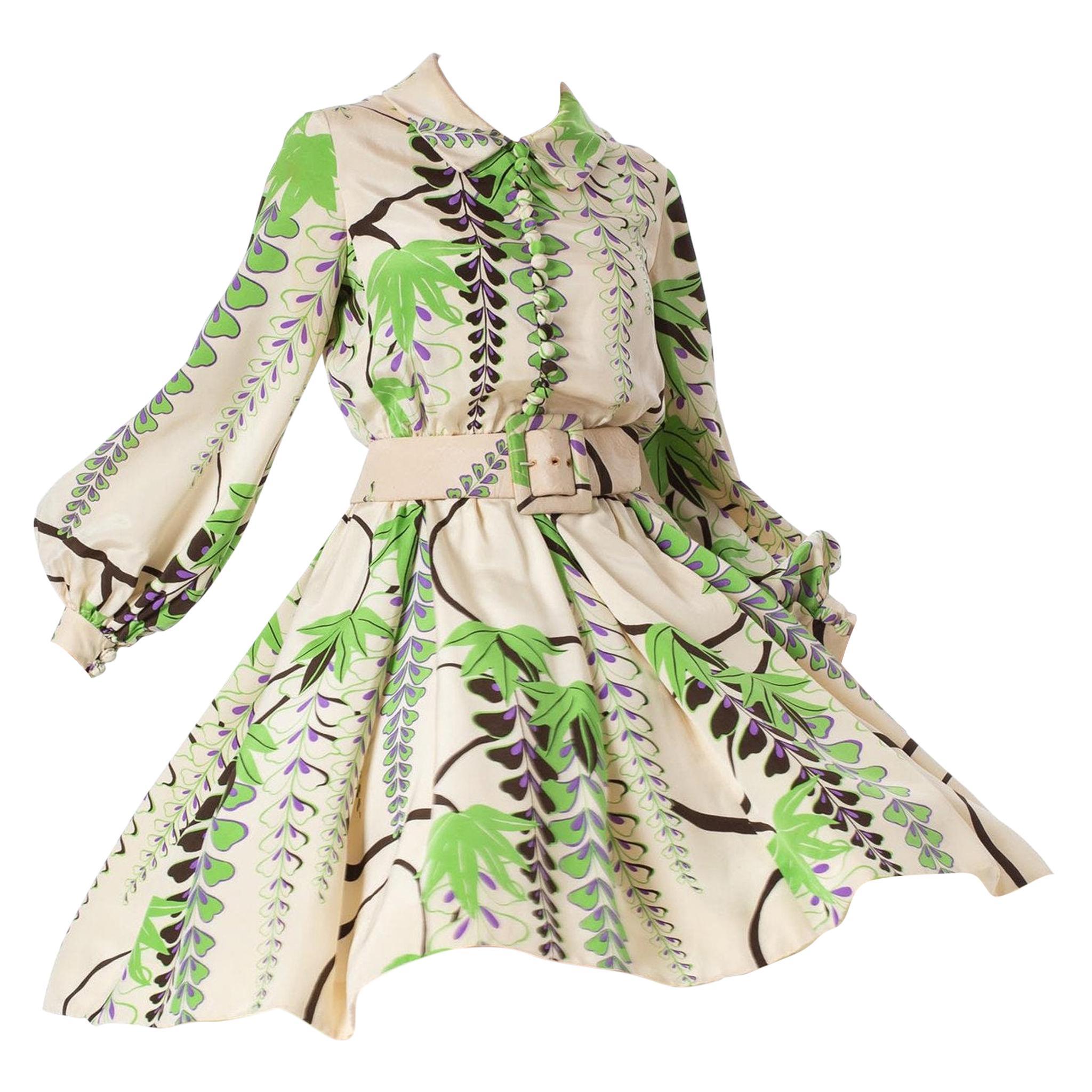1960S DONALD BROOKS Silk Botanical Placed Print Dress