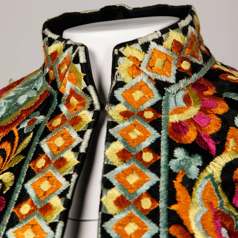 1960s Donald Brooks Vintage Heavily Embroidered Cropped Bolero Jacket or Top For Sale 1