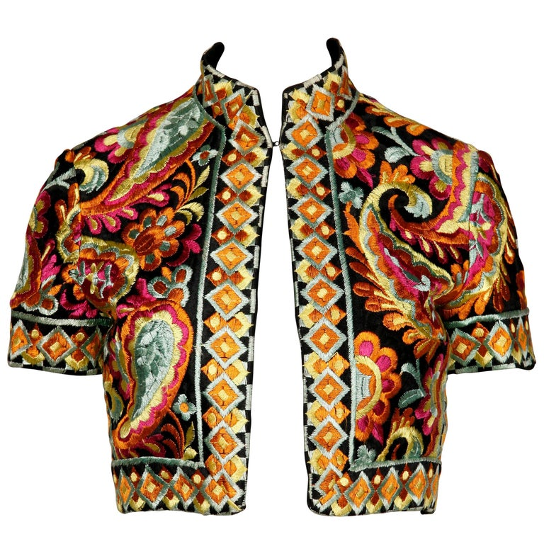 1960s Donald Brooks Vintage Heavily Embroidered Cropped Bolero Jacket or Top For Sale