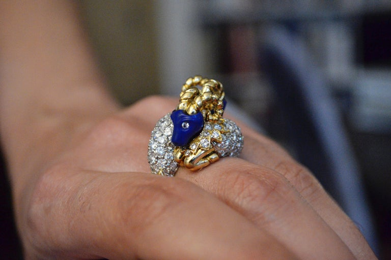 Modern 1960s Donald Claflin for Tiffany & Co. Carved Lapis and Gold Ram Ring For Sale