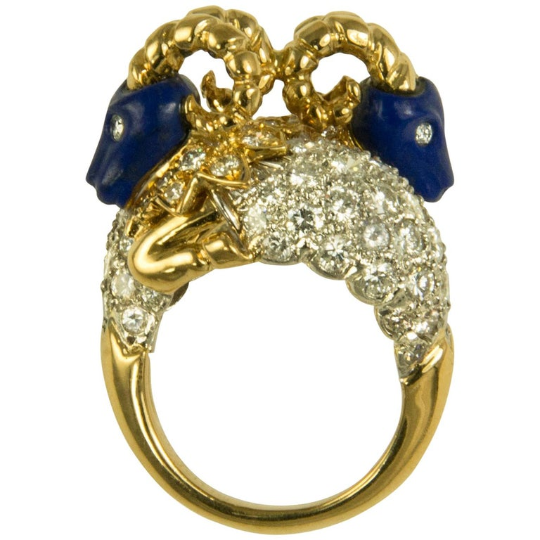 1960s Donald Claflin for Tiffany & Co. Carved Lapis and Gold Ram Ring For Sale