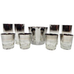 1960s Dorothy Thorpe Set of Bar Glassware and Ice Bucket 9 Pieces