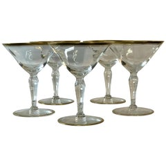 1960s Double Gold Rim Glass Coupe Stems, Set of 5