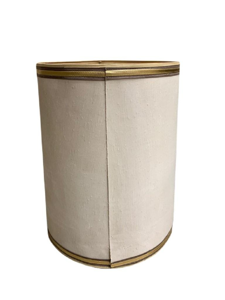 American 1960s Drum Lamp Shade with Gold Grosgrain Trim For Sale