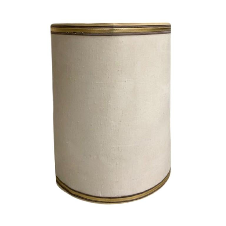1960s Drum Lamp Shade with Gold Grosgrain Trim For Sale