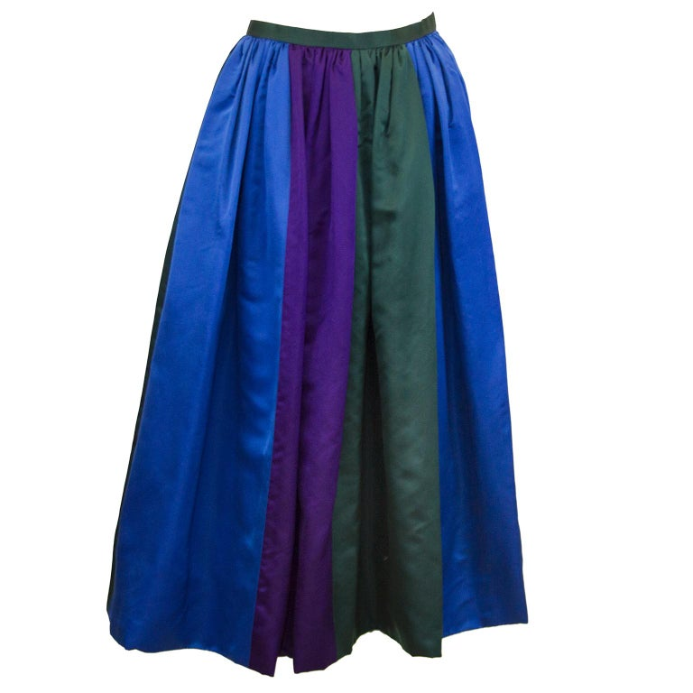 Purple 1960's Duchesse Satin Color Block Evening Skirt For Sale