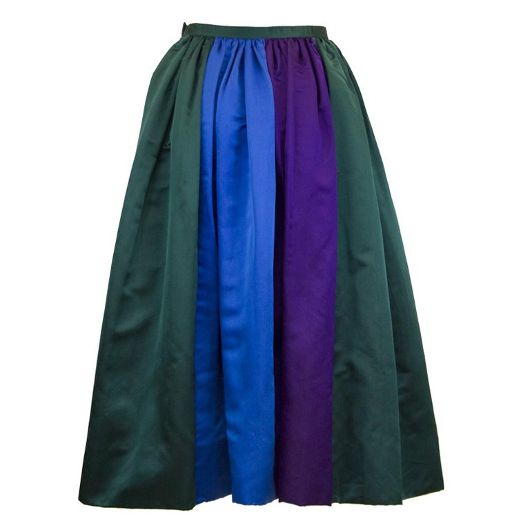 1960's Duchesse Satin Color Block Evening Skirt For Sale
