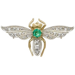 1960s Dutch Emerald and Diamond Yellow Gold Insect Brooch