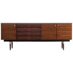 1960s Dutch Modernist Design Rosewood Veneer Sideboard