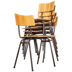 1960s Dutch Stacking Metal Frame University Dining, Café Chairs, Set of Six