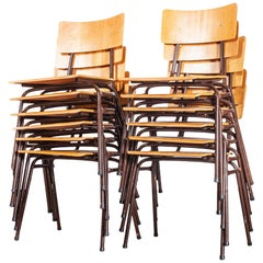 1960s Dutch Stacking Metal Frame University Dining, Café Chairs, Set of Twelve