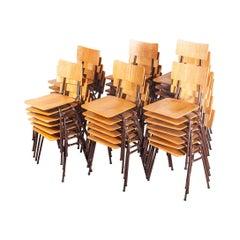 1960s Dutch Stacking Metal Frame University Dining, Set of Twenty Four
