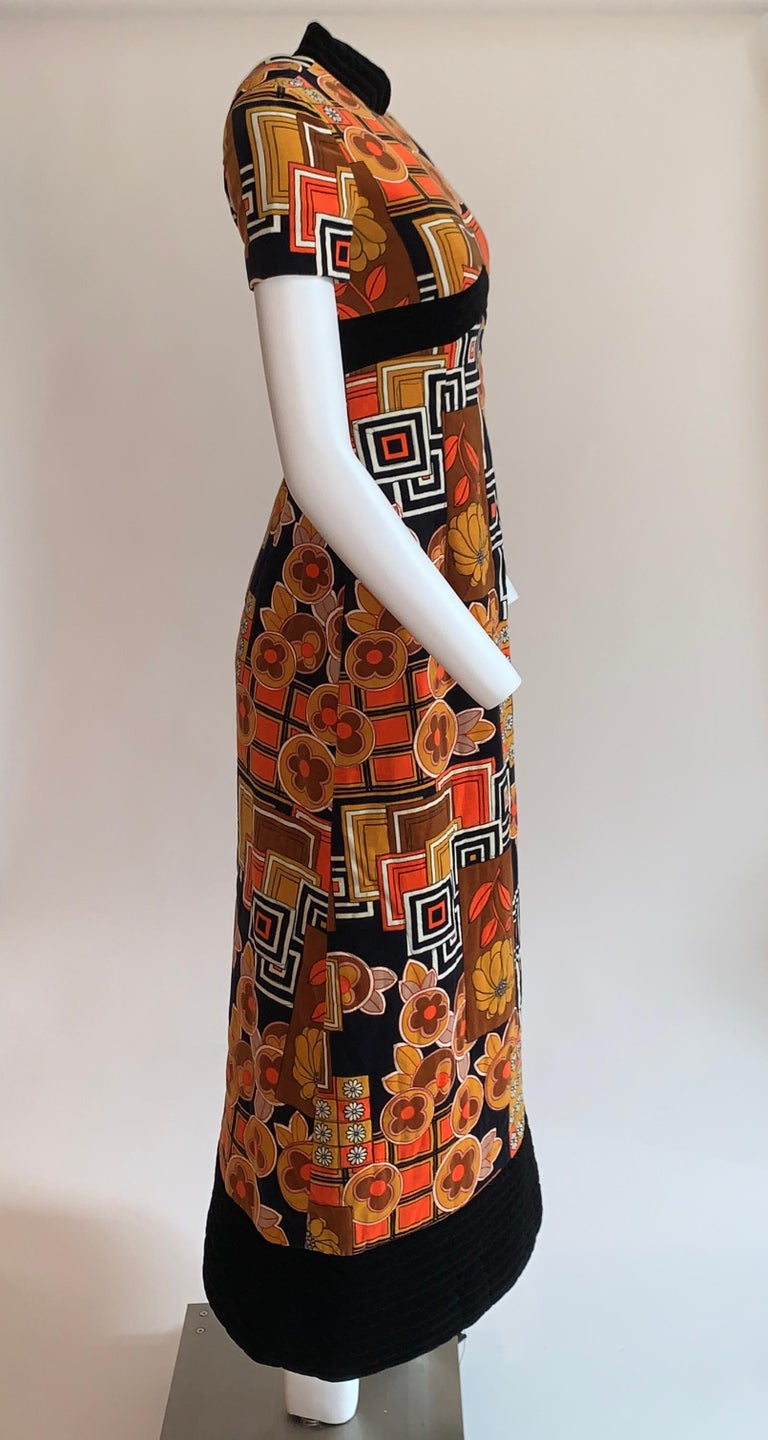 Brown 1960s Dynasty for I Magnin Floral Print Orange and Black Velvet Maxi Dress  For Sale