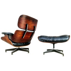 1960s Early Herman Miller Eames Lounge and Ottoman