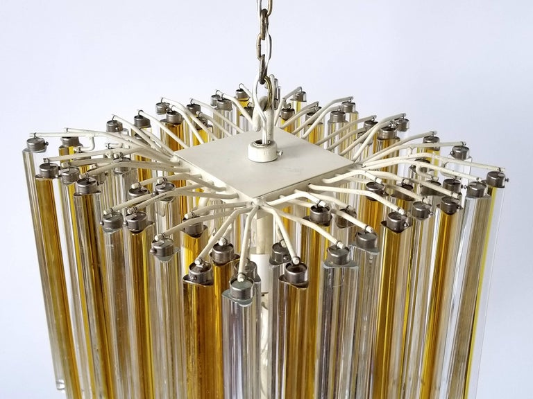 1960s Early Venini Amber and Clear Glass Prisms Chandelier, Italy For Sale 2