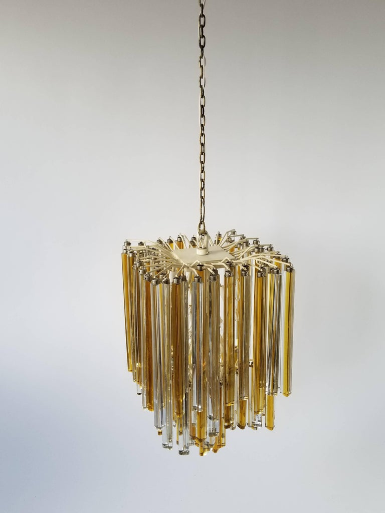 1960s Early Venini Amber and Clear Glass Prisms Chandelier, Italy For Sale 3