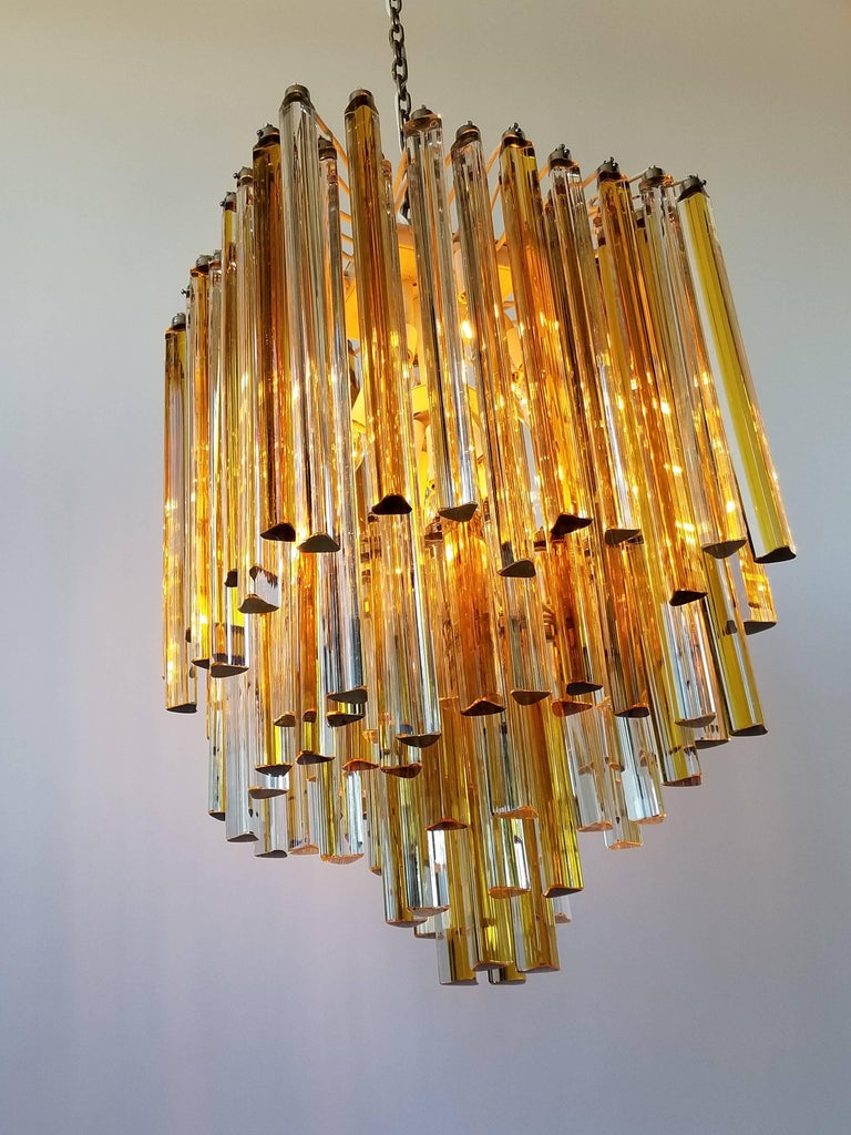 1960s Early Venini Amber and Clear Glass Prisms Chandelier, Italy For Sale 8
