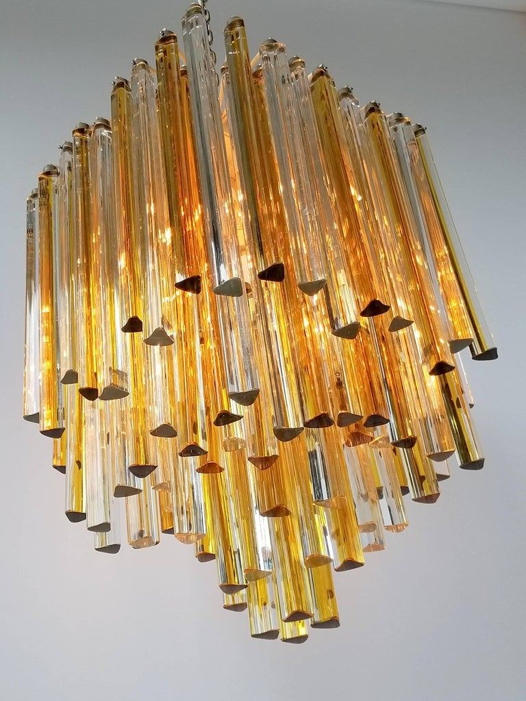 Italian 1960s Early Venini Amber and Clear Glass Prisms Chandelier, Italy For Sale