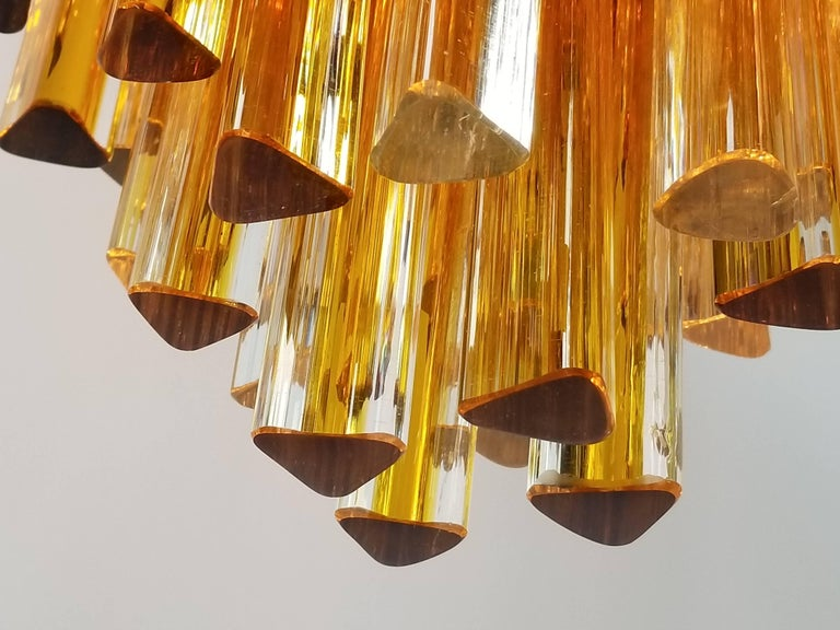 Mid-20th Century 1960s Early Venini Amber and Clear Glass Prisms Chandelier, Italy For Sale