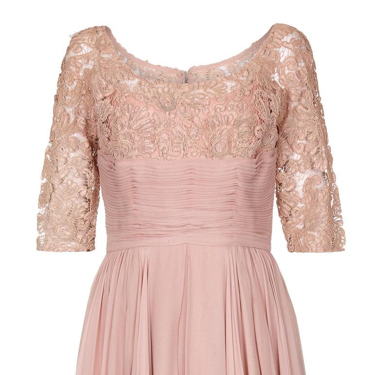 Beige 1960s Edward Abbott Dusky Pink Corded Lace and Silk Chiffon Dress For Sale