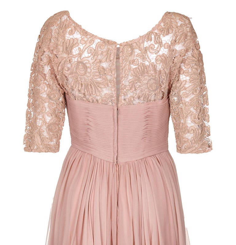 1960s Edward Abbott Dusky Pink Corded Lace and Silk Chiffon Dress In Excellent Condition For Sale In London, GB