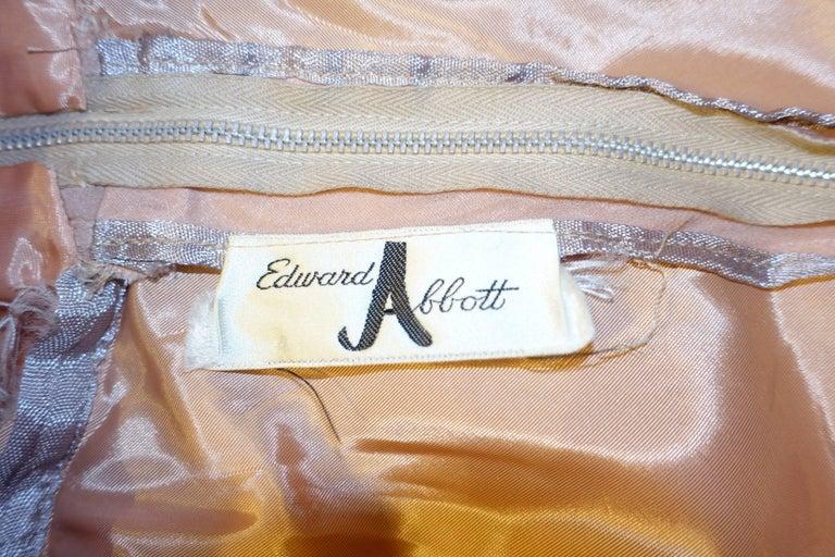 Women's 1960s Edward Abbott Dusky Pink Corded Lace and Silk Chiffon Dress For Sale