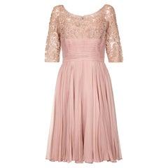 1960s Edward Abbott Dusky Pink Corded Lace and Silk Chiffon Dress