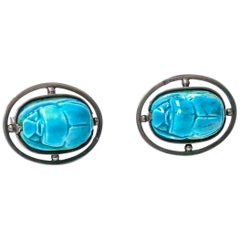 1960s Egyptian Revival Silver Turquoise Scarab Cufflinks