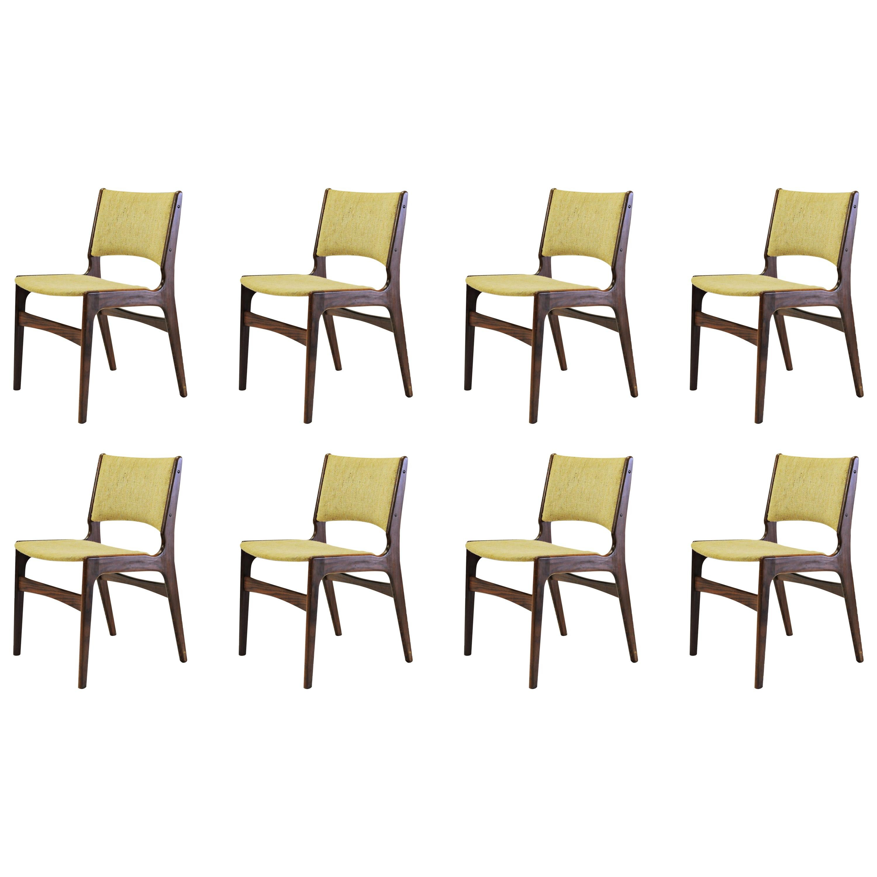 Set of Eight Refinished Erik Buch Dining Chairs in Solid Teak, Inc. Reupholstery
