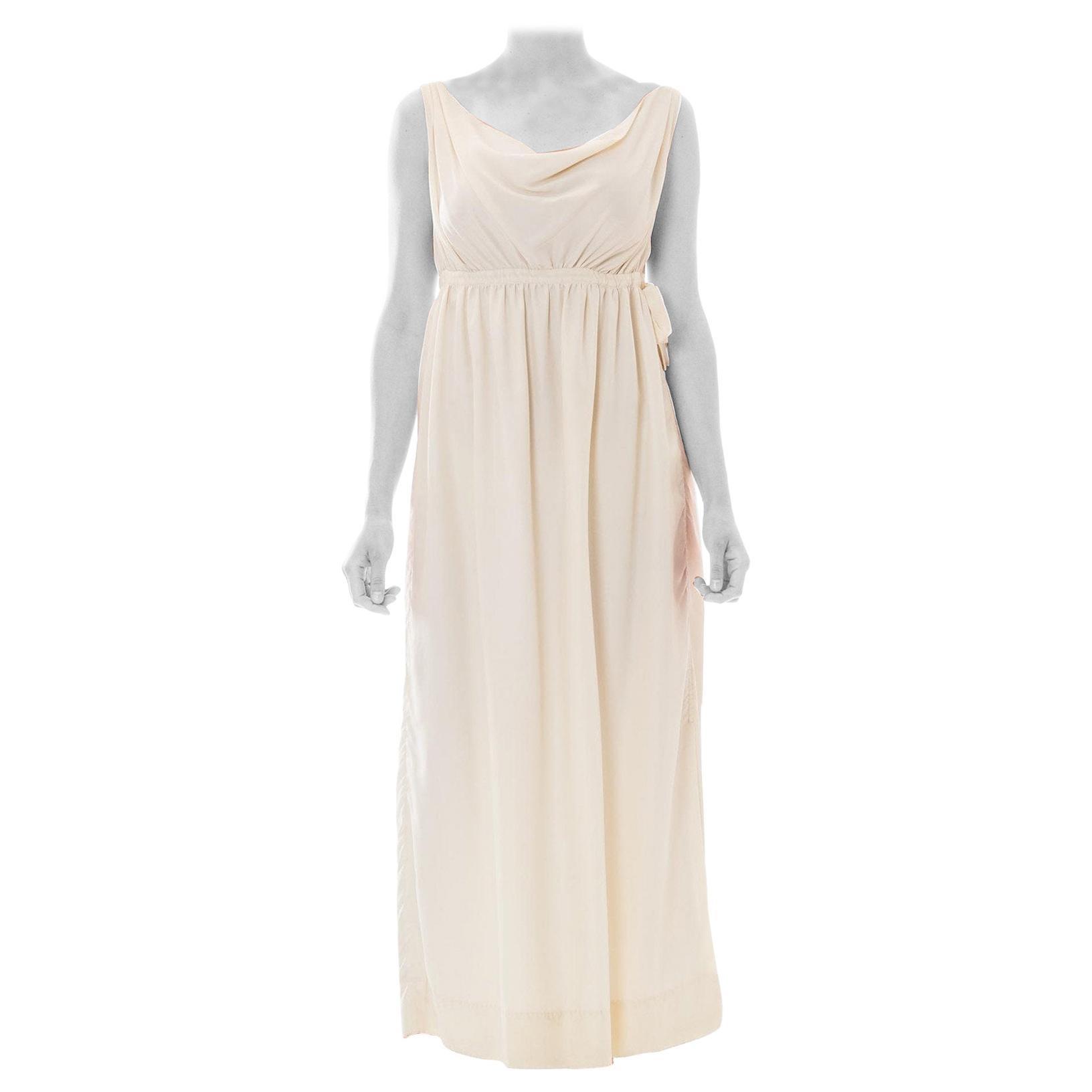 1960S ELIZABETH ARDEN Polyester Crepe De Chine Empire Waist Goddess Cowl Neck G