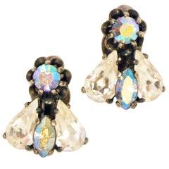 1960s Elsa Schiaparelli Iridescent Rhinestone Insect Earrings