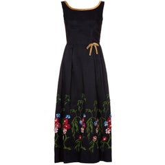 1960s Embelished Dress with Colourful Embroidered Flowers and Beading