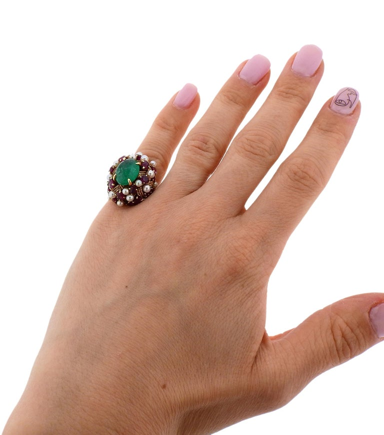 1960s Emerald Cabochon Ruby Pearl Gold Cocktail Ring For Sale 1