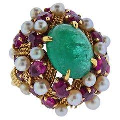 1960s Emerald Cabochon Ruby Pearl Gold Cocktail Ring
