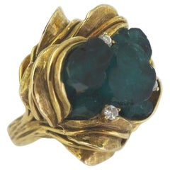 1960s Emerald Crystal, Gold and Diamond Statement Ring