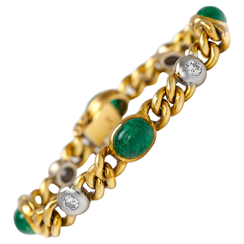 1960s Emerald Diamond Gold Bracelet