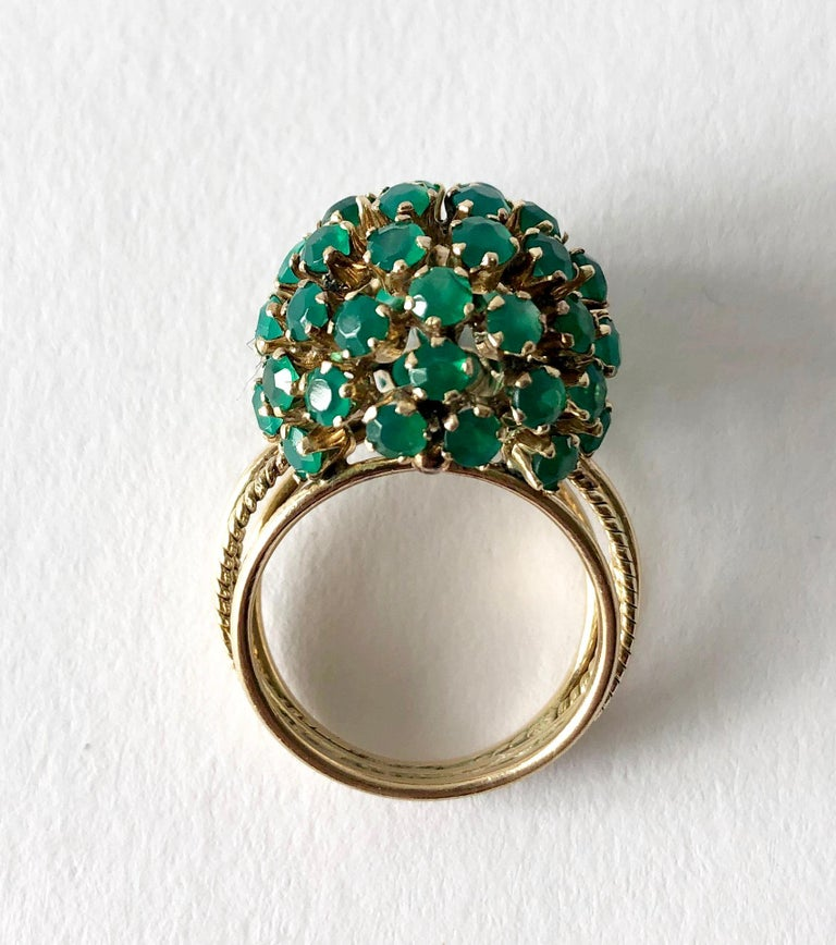 14k gold and emerald ball ring, circa 1960s.  Ring is a finger size 6, ball measures 5/8
