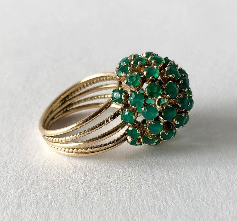 Modernist 1960s Emerald Gold Starburst Ball Cocktail Ring For Sale