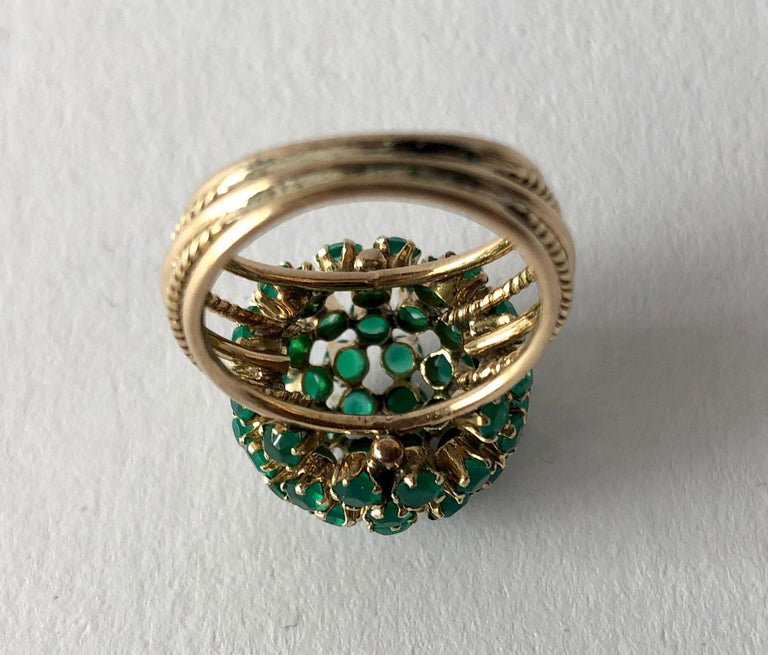 Women's 1960s Emerald Gold Starburst Ball Cocktail Ring For Sale