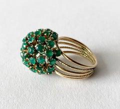 1960s Emerald Gold Starburst Ball Cocktail Ring