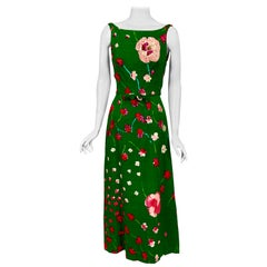 1960's Emerald Green Floral Print Linen Dress with Sequin and Beaded Decoration
