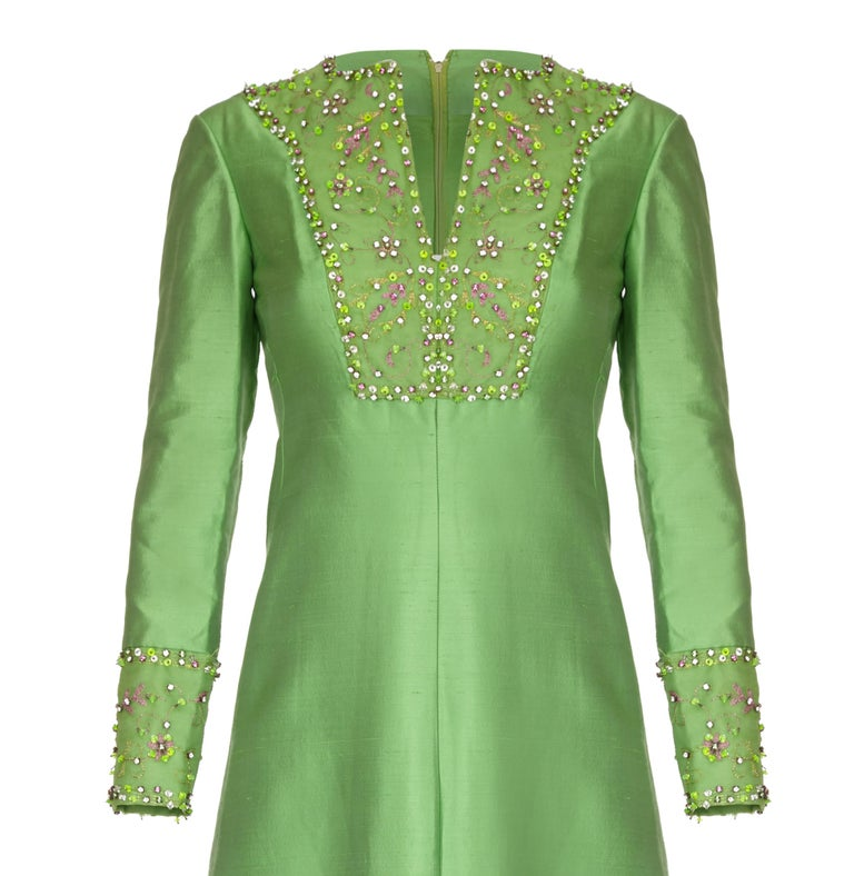 1960s Emerald Green Silk Gino Charles for Malcolm Starr Beaded Rhinestone Dress  In Good Condition For Sale In London, GB