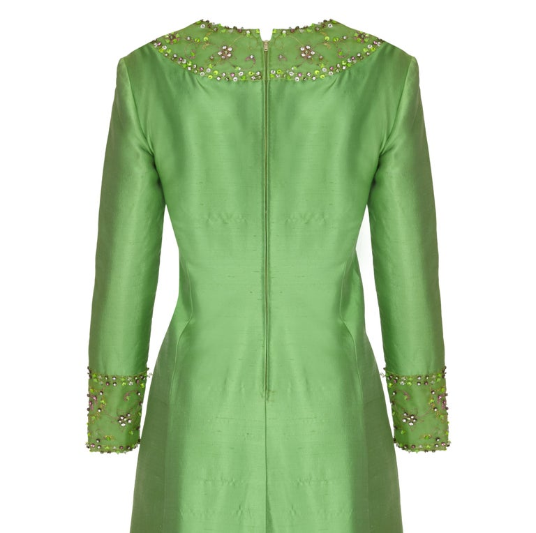 Women's 1960s Emerald Green Silk Gino Charles for Malcolm Starr Beaded Rhinestone Dress  For Sale