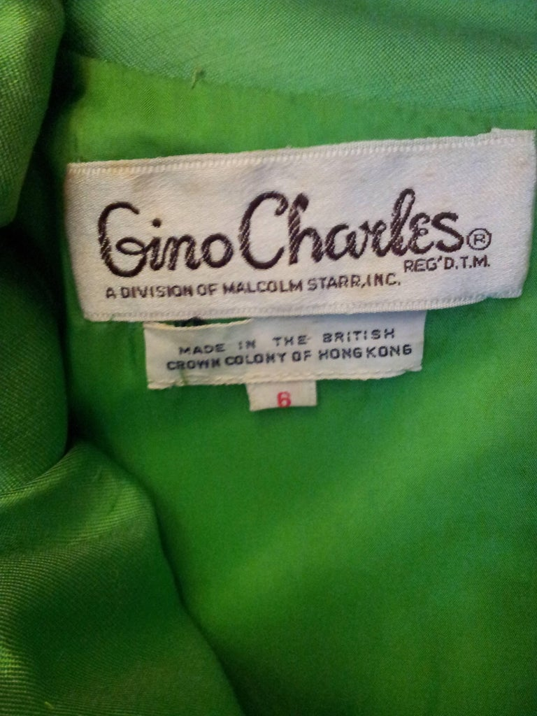 1960s Emerald Green Silk Gino Charles for Malcolm Starr Beaded Rhinestone Dress  For Sale 1